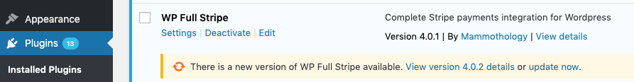 WP Full Stripe auto-update