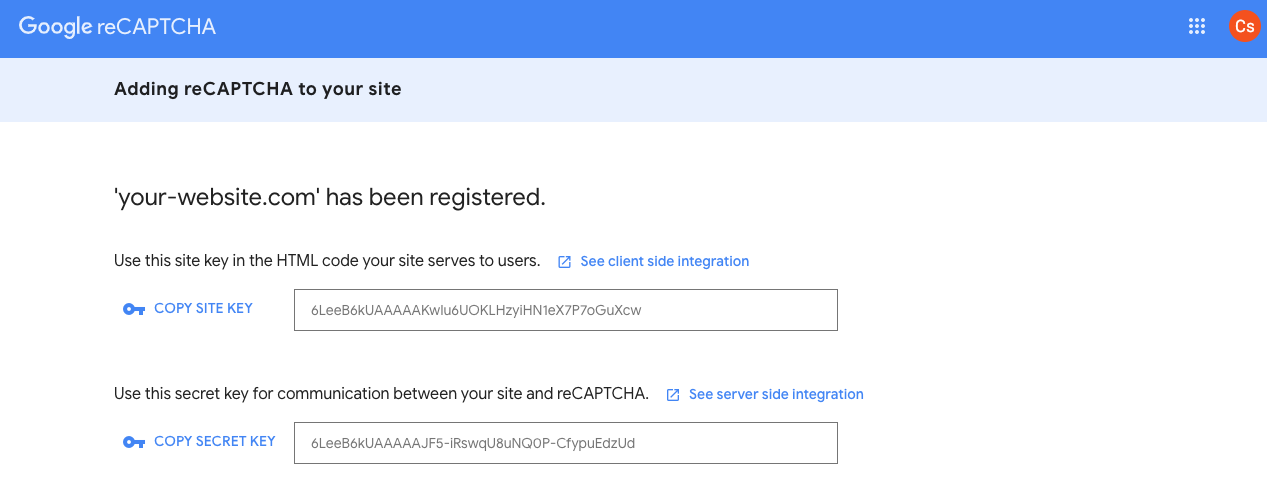 Google reCaptcha - Write down the API keys