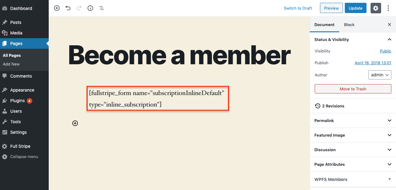 WP Full Stripe Members - Insert form shortcode into a page