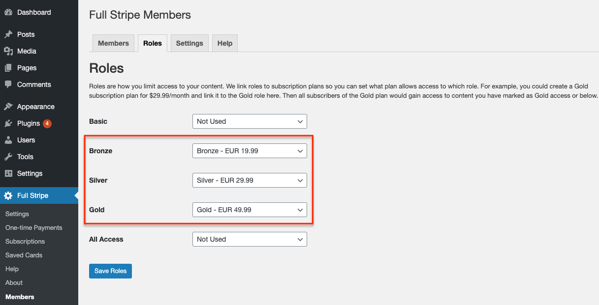 WP Full Stripe Members - Assign roles to membership levels