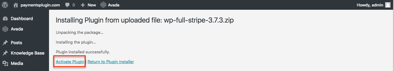 Activating WP Full Stripe on the Plugins page in WP admin