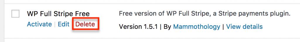How to delete WP Full Stripe