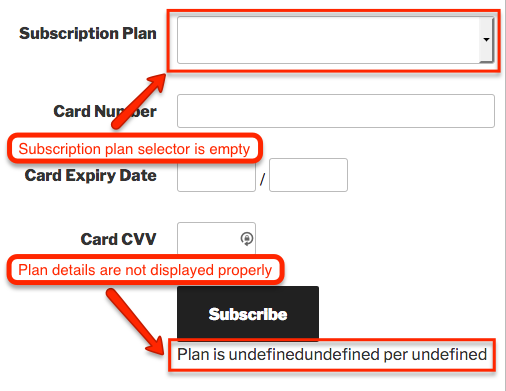 Subscription plan selector is empty